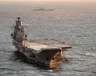 Russian aircraft carrier Admiral Kuznetsov - Image: MOD UK 45153831