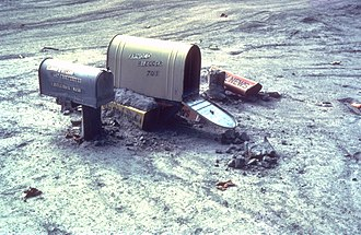 Mudflow - Mailboxes caught in a mudflow following the May 1980 Saint Helens volcanic eruption.