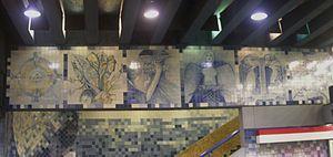 Santa Lucía metro station - View of  Tiles for Santiago