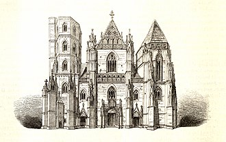 St Elisabeth Cathedral - Woodcut of cathedral