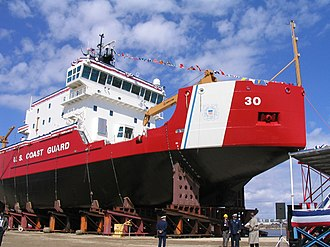 USCGC Mackinaw (WLBB-30) - Image: Mackinaw Bow Launch