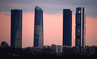Cuatro Torres Business Area - From left to right: Torre Espacio, Torre de Cristal, Torre PwC and Torre Cepsa