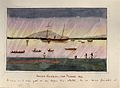 Malaysia; a ship and many small boats off the coast of Penan Wellcome V0037500.jpg