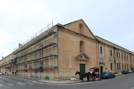 The Sacra Infermeria was used as a hospital from the 16th to 20th centuries. It is now the Mediterranean Conference Centre. Malta - Valletta - Triq il-Mediterran-Triq it-Tramuntana - Mediterranean Conference Centre 01 ies.jpg