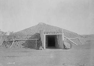 Earth shelter - Mandan lodge, North Dakota. c. 1908