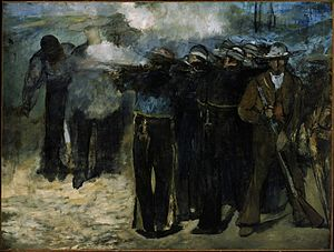 The Execution of Emperor Maximilian - The Execution of Emperor Maximilian (1867), oil on canvas, 195.9 x 259.7 cm. Museum of Fine Arts, Boston