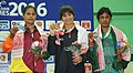 Manisha (India) won the gold, Rina Akhtar (Bangladesh) won silver and MWDM Priyanka Kumari (Sri Lanka) won bronze medal in 60kg female wrestling, at 12th South Asian Games-2016, in Dispur, Guwahati on February 06, 2016.jpg