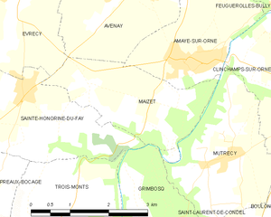 Second Battle of the Odon - Image: Map commune FR insee code 14393