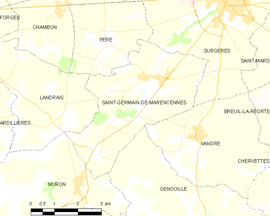 Mapa obce Saint-Germain-de-Marencennes