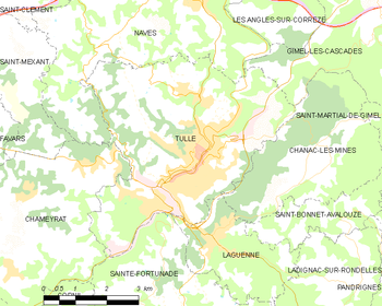 Map of the commune of Tulle