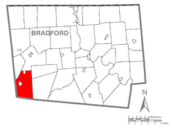 Map of Bradford County with Canton Township highlighted