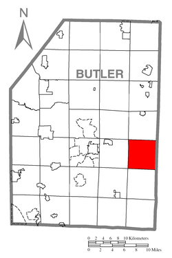 Map of Butler County, Pennsylvania highlighting Clearfield Township