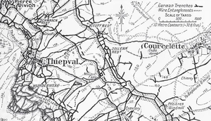 Battle of Mouquet Farm - Image: Map of German defensive fortifications from Thiepval to Courcelette, July 1916