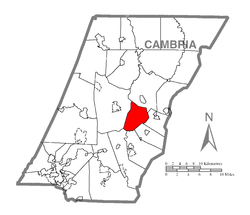 Map of Cambria County, Pennsylvania highlighting Munster Township