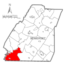 Map of Somerset County, Pennsylvania Highlighting Addison Township