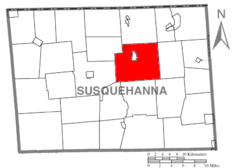 Map of Susquehanna County Pennsylvania highlighting New Milford Township.PNG