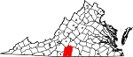 State map highlighting Pittsylvania County