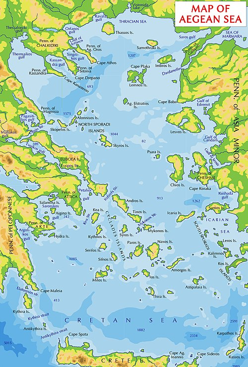 Map of the Aegean Sea. Thracian Sea is shown in its top. Map of the Aegean Sea.jpg