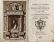 frontispiece and title page from eighteenth-century catalogue of Latin codices