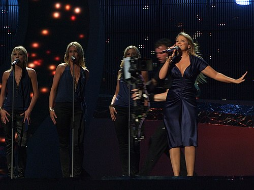 "Maria Haukaas Storeng performing ""Hold On Be Strong"" at the first Eurovision Song Contest 2008 semi-final. Maria Eurovision semi-final 2008.jpg"