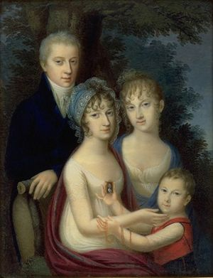 Maria Ludovika of Austria-Este - Empress Maria Ludovica, with three of her stepchildren: Ferdinand, Maria Leopoldina and Franz Karl
