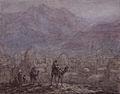 Marius Bauer, Kameelruiters voor een oosterse stad in de bergen.jpg