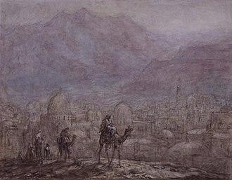 Marius Bauer - Image: Marius Bauer, Kameelruiters voor een oosterse stad in de bergen