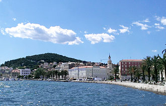 Marjan, Split - Split harbor, the Riva, and Marjan in the background.