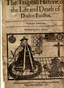 Frontispiece to a 1631 printing of Doctor Faustus showing Faustus conjuring Mephistophilis. Marlowes-Doctor-Faustus-Frontispiece 1631.jpg
