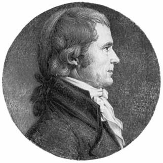 Marbury v. Madison - An engraving of Chief Justice John Marshall made by Charles-Balthazar-Julien Fevret de Saint-Mémin in 1808.
