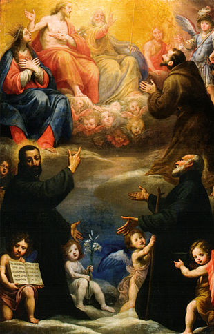 I santi Gaetano di Thiene, Andrea Avellino, Francesco d'Asisi adoranti la Trinità, la Madonna, San Giovanni Battista e San Michele Arcangelo