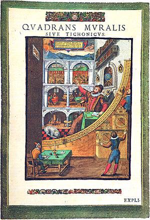 Mauerquadrant, ilustración del libro Astronomiae Instauratae Mechanica, Tycho Brahe, 1598.