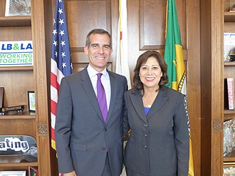 Hilda Solis - Newly elected Supervisor Solis with Mayor of Los Angeles Eric Garcetti in 2014