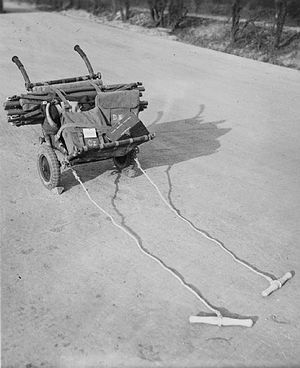 16th (Parachute) Field Ambulance - Airborne trolley, with a folding stretcher, Don and Sugar packs