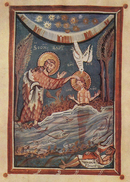 MEISTER des Hitda Evangeliars Evangeliar der Äbtissin Hitda von Meschede, Taufe Christi (Ausschnitt), um1020