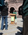 Melanie Mullen addresses meida at Queen's Park (2340642421).jpg