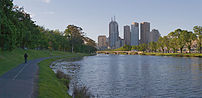 A panoramic view of the Yarra River flowing th...