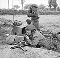 Men of the Durham Light Infantry operate a radio and keep watch for the enemy, near Bayeux, Normandy, 11 June 1944. B5378.jpg
