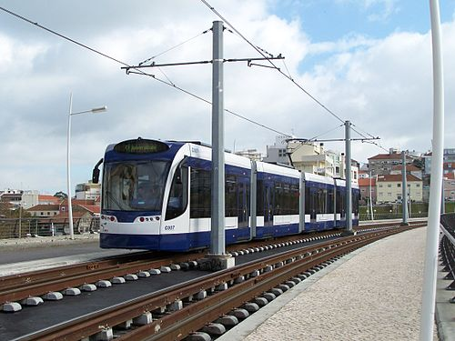 Siemens Combino Plus tram (#C007) in Almada, Portugal