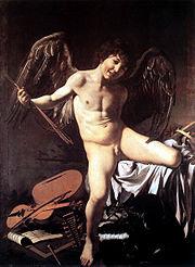 Απεικόνιση του Θεού Έρωτα. Πίνακας του Καραβάτζιο, περ. 1600.
