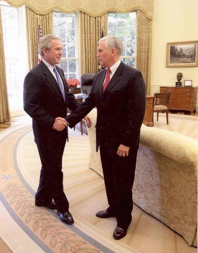 Mike Pence and George W. Bush