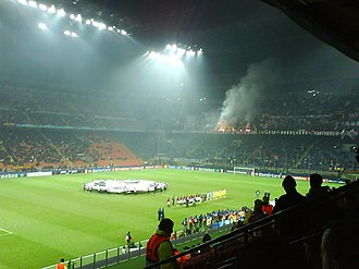 2007 UEFA Champions League Final - The players of Milan and Lille before their group stage match at the San Siro