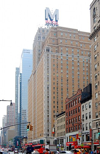 """Row NYC Hotel - The hotel in 2008 with the neon """"M"""" on top, since removed."""
