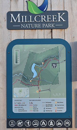 Mill Creek Nature Park - Park entry sign with trail map