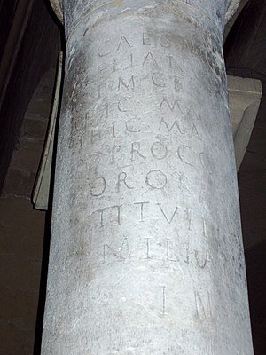 Via Agrippa - Mile stone of the via Agrippa reused in the Cathedral of Valence, Drôme)