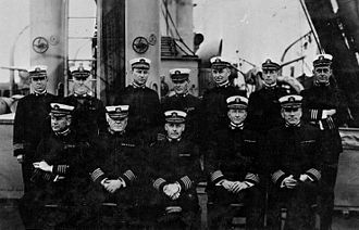 Wat Tyler Cluverius Jr. - Senior officers of Mine Squadron One, in the North Sea, September 1918. Cluverius is front left.