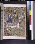 Miniature of Annunciation. Figure of monkey and cat playing a musical instrument in border. Initials (NYPL b12455533-426020).tif