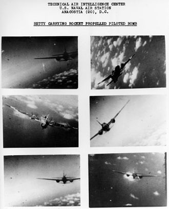 """721st Naval Air Group - Mitsubishi G4M2E """"Betty"""" of the 711th Attack Squadron/721st Naval Air Group under attack on 21 March 1945."""