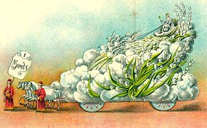 Knights of Momus - New Orleans Mardi Gras, 1907. Illustration showing King's float for Momus parade.