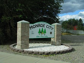 Monroe, Utah - Welcome sign at the northern entrance to Monroe